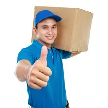 Delivery guy with package and thumbs-up